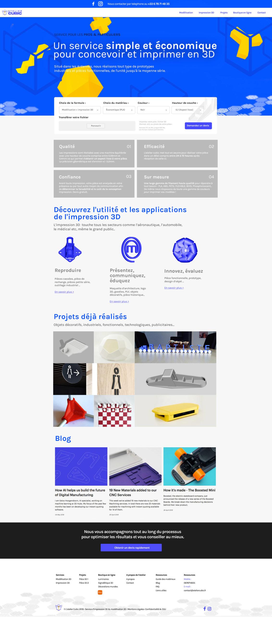 Webdesign site web Atelier cubic